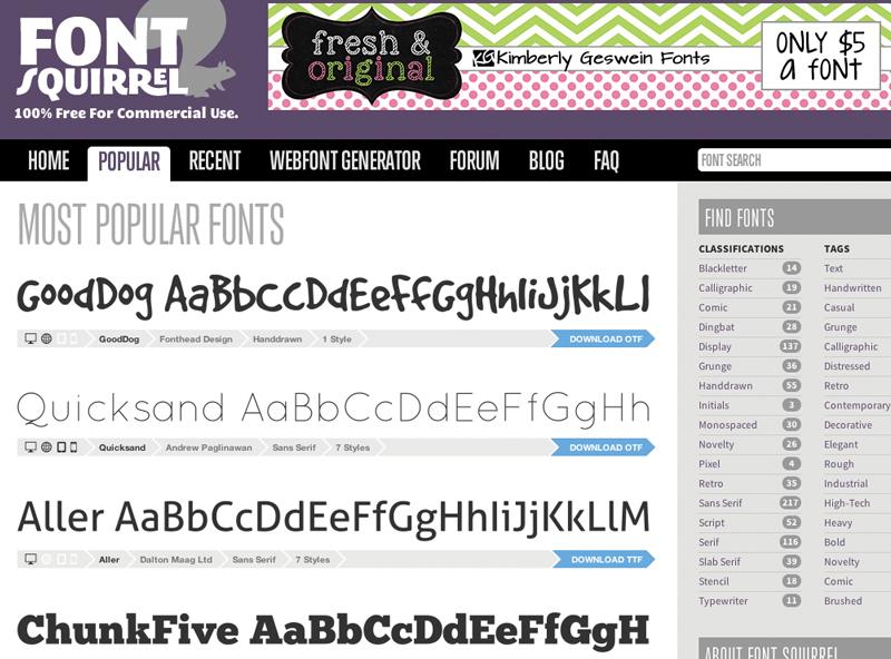 Free Blog Fonts