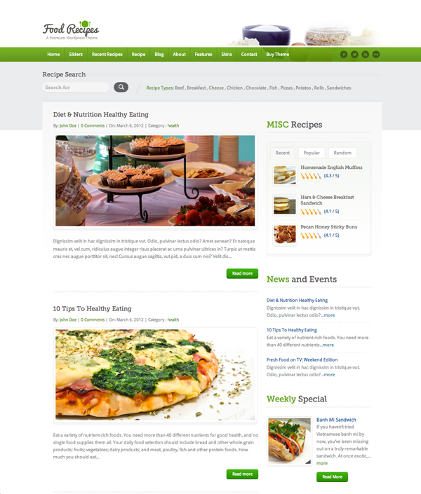 The 10 Tools For Starting a Food Blog: #5 A WordPress Food Blog Theme