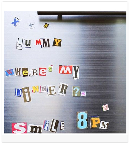 DIY Blog Header Design Idea #7 of 9: Cut out magazine letters and stick them in a place related to your blog (ie fridge for a food blog)