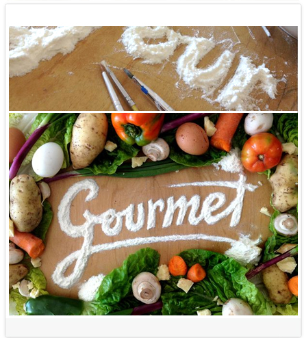 DIY Blog Header Design Idea #3 of 9: Use ingredients to spell out your blog's name